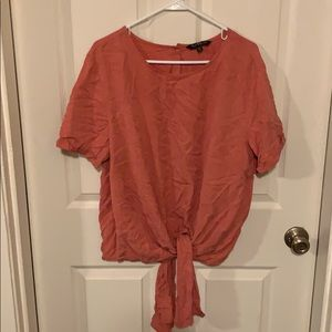 Velvet heart front tie blouse. Coral color size XL